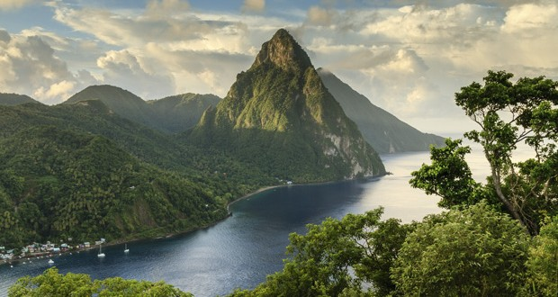 Petit Piton and Gros Piton, St Lucia. Image: Getty