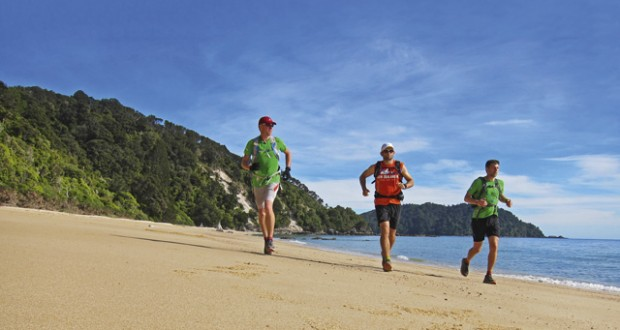 Ben, Luke and Pat beach trail running on the Abel Tasman Track