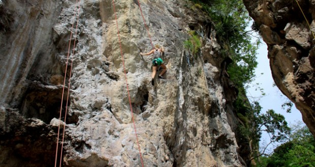 Rock climbing in Railay, Thailand.