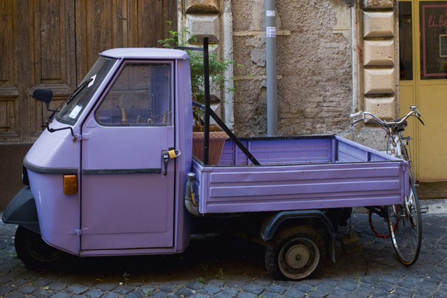 A car on the streets of Trastevere