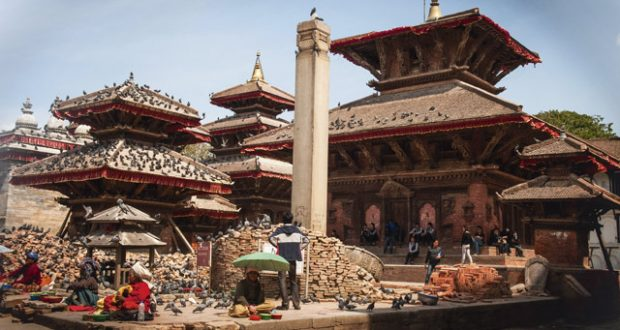 Earthquake rubble in the UNESCO-listed Durbar Square in Kathmandu, Nepal. Image: Emma Thomson