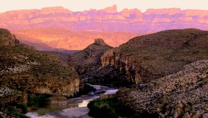 The Rio Grande and Sierra del Carmen mountains at sundown