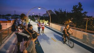 Cyclists and walkers share The 606 trail, Chicago