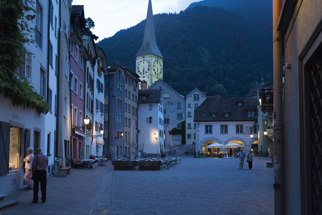 A quiet evening in Arcas Square with St Martin's Church in the background, Chur. Image: Slawek Kozdras