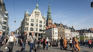 View over Amagertorv at Strøget, the main pedestrian shopping street in Copenhagen