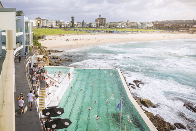 Sunday swimmers at the city's iconic Bondi Baths, Icebergs Club